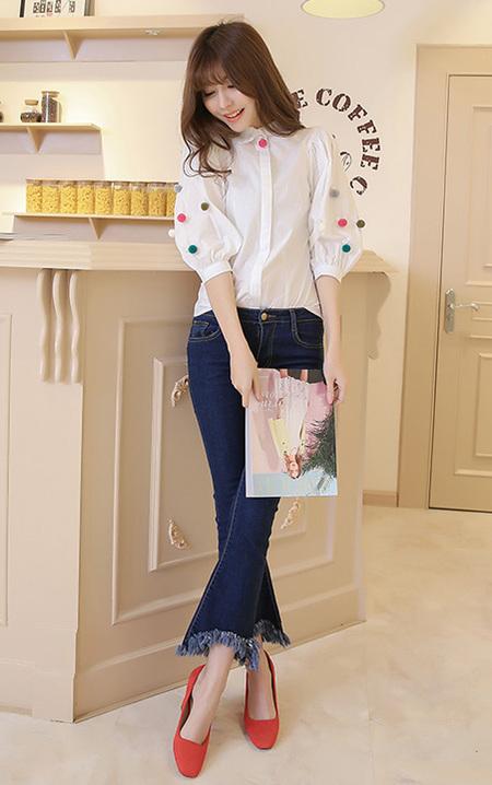 颜色搭配图趣味卡通女孩图案白衬衫