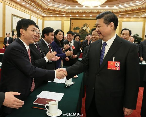 新华网北京3月7日电3月7日上午,中共中央总书记、国家主席、中央军委主席习近平来到十二届全国人大四次会议黑龙江代表团参加审议。