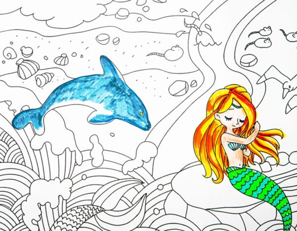 白雪公主简笔画-当 美人鱼 走进涂色画