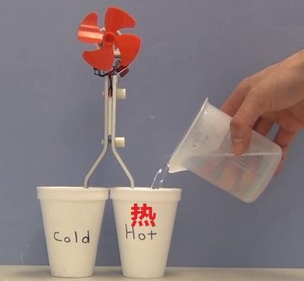 把热水倒入右边的杯子中,然后