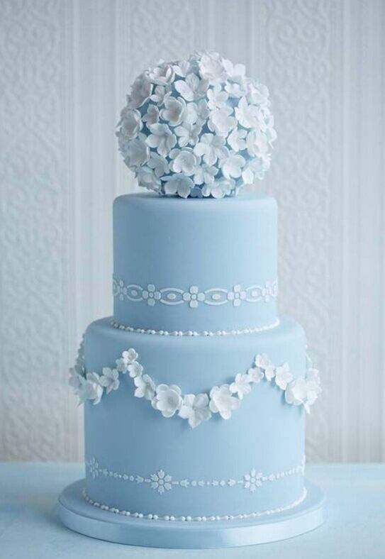 Pale Blue Wedding Cake