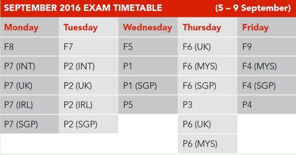 016年9月份ACCA考试报名时间及科目安排