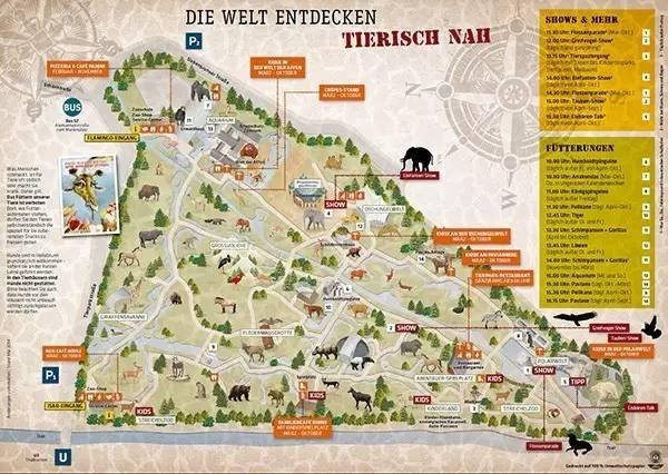 在德国逛动物园,得到的动物园地图一般长这样