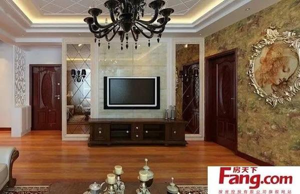 新中式风格印花玻璃隔断电视墙装修效果图-客厅玻璃隔断电视背景墙
