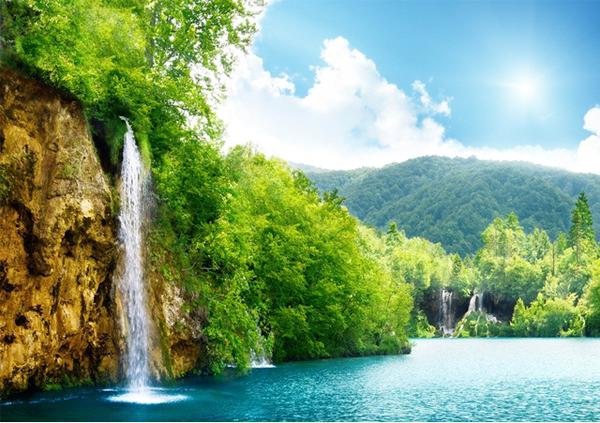 湖边瀑布风景高清摄影图片图片