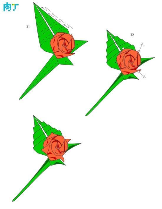 带叶子的折纸玫瑰做法图解-手工玫瑰花折纸方法 带叶子的折纸玫瑰做图片