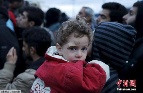 资料图:上万难民滞留希腊边境,一名额头受伤的小朋友看向镜头,身后的大人们在争抢食物。