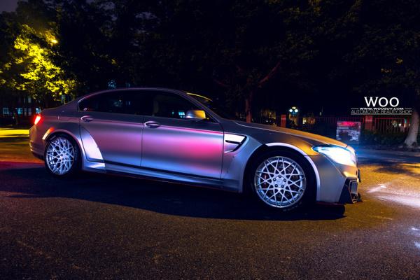 宝马5系步骤车身改色汽车贴膜电光金属银,帅!(四)车辆特效年检图片