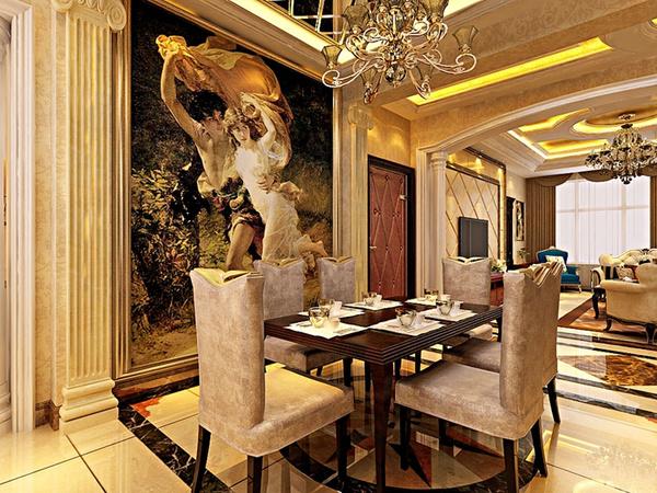 理石结构,沙发背景墙方面主要以石膏线造型为主,体现出整体的欧式风格