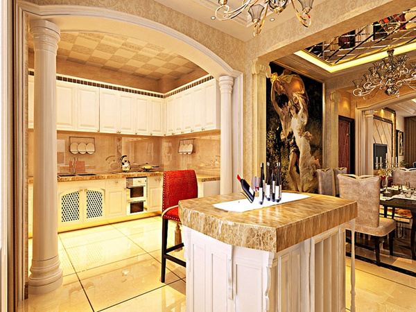 卧室装修效果图 卧室区域墙面以壁纸为主,床头石膏线造型突出欧式色彩