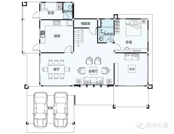 新农村自建房 现代风格面宽16米带堂屋车库 平面图