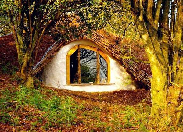 森林木屋手绘窗户