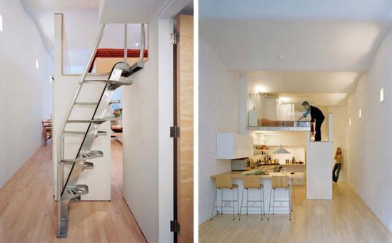 使之作为卧室,而阁楼楼梯的一边是带滑动门的衣橱,另一边则作为浴室图片