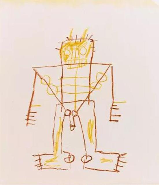 (让・米切尔・巴斯奎特《无题》,1985-1987年间作,本作附有让・米切尔・巴斯奎特鉴定委员会证书,蜡笔作,50.8× 40.6公分)
