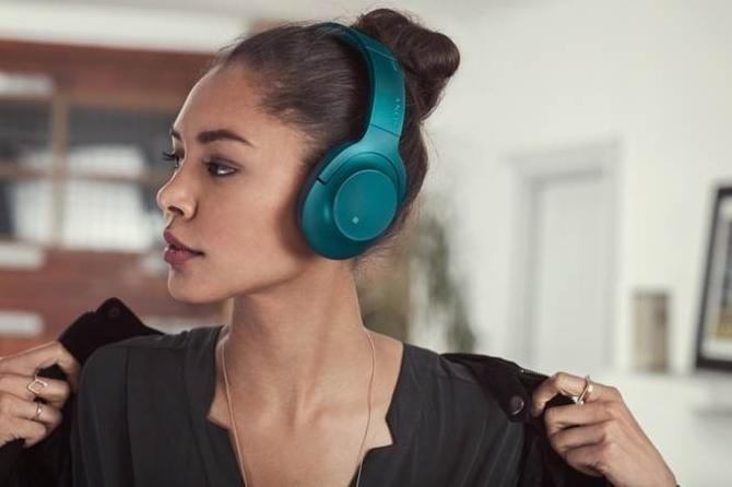 新款头戴式降噪无线索尼耳机h.ear on Wireless NC(MDR-100ABN)翠绿款