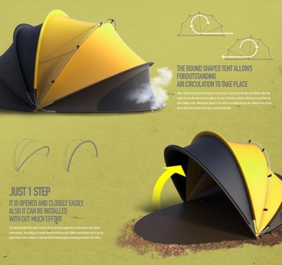1 perfect second只需一个翻转动作即可完成搭建成一个半圆形帐篷