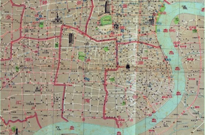 """1960 年""""上海市市区图""""局部图"""
