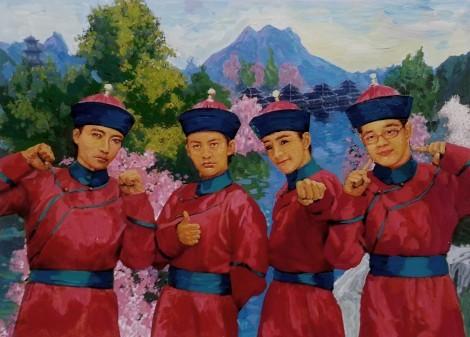"""80后作家中的""""四大才子""""韩寒、张一一、郭敬明、唐家三少(从左至右)"""