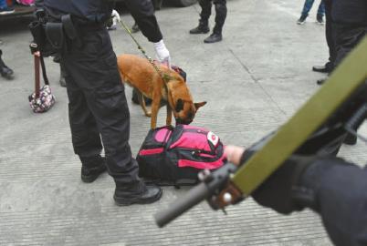 �毒犬��可疑背包停止搜刮。