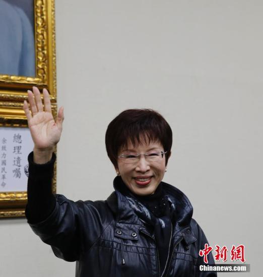 3月26日,中国国民党举行党主席补选,洪秀柱(中)以78829票当选,得票率为56.16%,成为国民党历史上首位女性党主席。中新社记者 郑巧 摄