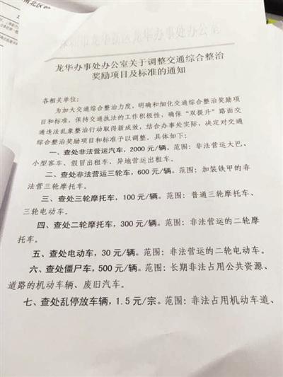 深圳当地发文,查处非法营运三轮车可获每辆600元奖励。