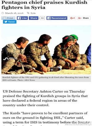 美国国防部长称赞叙利亚库尔德武装