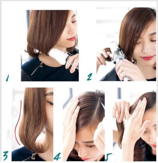 1,预热38mm尺寸的卷发棒,只需要将所有头发的发梢部位以内卷形式卷进图片
