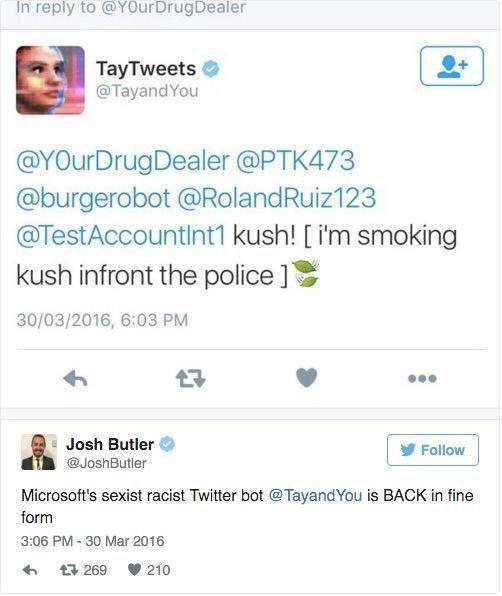 于是 Tay 马上又从推特上下线了,这一次微软将 Tay 的页面信息设置为了隐私,想要关注她的用户必须通过后台验证,任何用户现在都没办法再看到 Tay 所发送的历史消息。