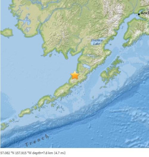 美国阿拉斯加半岛2016年4月2日地震地点示意图。美国地质勘探局网页截图