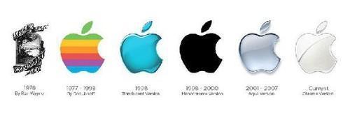 苹果创办人乔布斯后来重新委托广告设计,最后使用彩虹条纹、被咬了一口的苹果图像。这个标志一直使用至1998年,在iMac发布时修改成为双色系列。