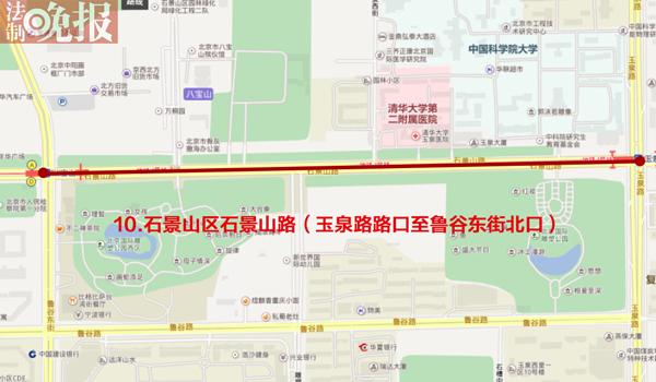禁行路段:石景山路部分路段(制图 张小松)