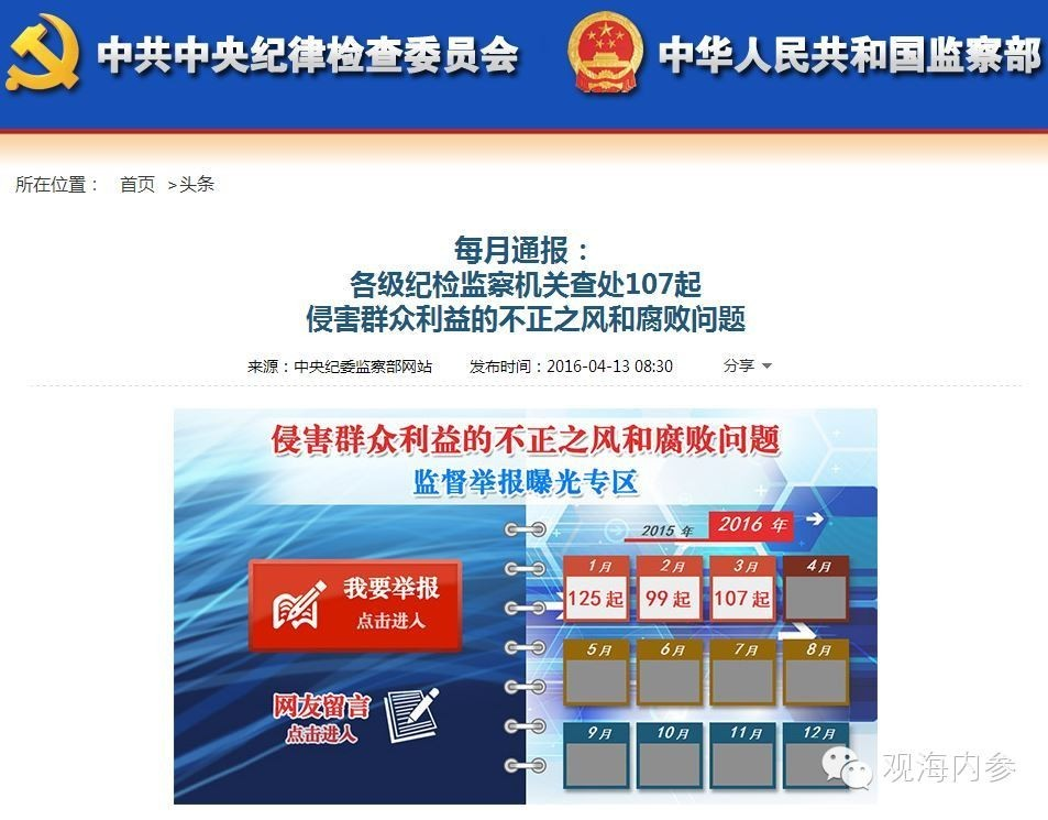 今日上午,中纪委网站通报了各级纪检监察机关查处的107起侵害群众利益的不正之风和腐败问题,其中涉及北京4起。
