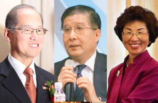 """蔡英文宣布人事,涉外事务部门负责人为李大维(左起)、""""总统府秘书长""""为林碧照、陆委会主委为张小月。"""