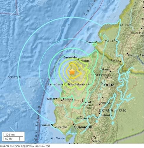 图为当地时间4月16日发生的厄瓜多尔地震。来源 美国地质勘探局网页