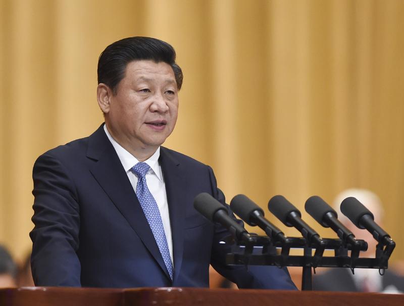 图为:2014年6月9日,中国科学院第十七次院士大会、中国工程院第十二次院士大会在北京人民大会堂隆重开幕。中共中央总书记、国家主席、中央军委主席习近平出席会议并发表重要讲话。