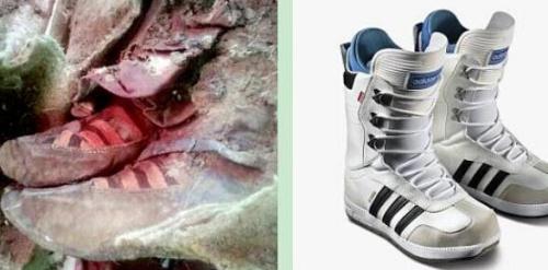 该木乃伊穿着的鞋外观极像著名运动品牌阿迪达斯的鞋子。