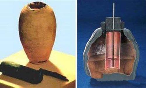 1936年6月的一天,一群筑路工人正在伊拉克首都巴格达城外意外发现一个巨大的百板砌成的古代坟墓。考古学家在这里发现了大量从公元前248年到公元前226年波斯王朝时代的器物。在这些古物中,发现了一些奇特的陶制器皿,它由5.5英寸高的粘土容器和一个铜柱、一个氧化铁杆组成。专家对它进行检测后断定,这种设备只要装满酸或碱性液体后,就可以产生电荷。