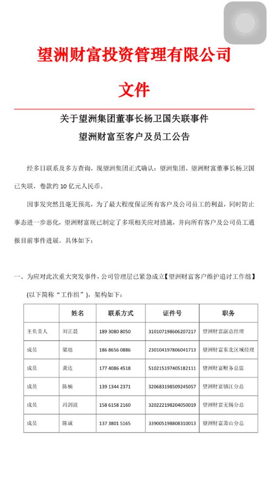 望洲集团董事长卷款10亿跑路 涉理财金额达22亿