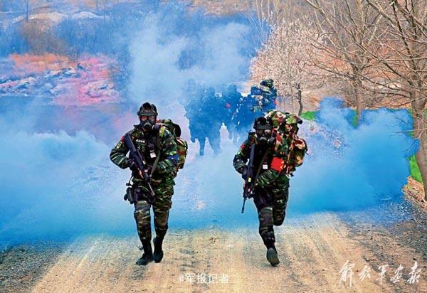 武警魔鬼训练场面 钻火圈闯毒烟水中激战图片
