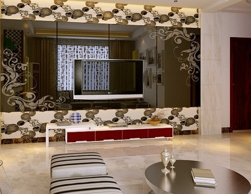 玻璃电视墙装修效果图:烤漆玻璃电视背景墙
