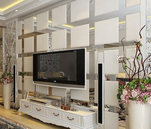 玻璃电视墙装修效果图 :大理石与镜子拼接 时尚豪华-客厅装饰法 玻璃图片