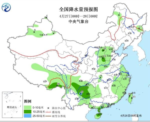 4月27日和28日全国降水量预报图