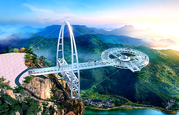 五一黄金周期间,位于北京市平谷区石林峡景区钛合金飞碟玻璃观景台将图片