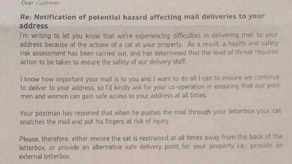 皇家邮政说,根据威胁的水平,皇家邮政必须采取行动保护邮递员的安全。(图片来源:英国广播公司网站)