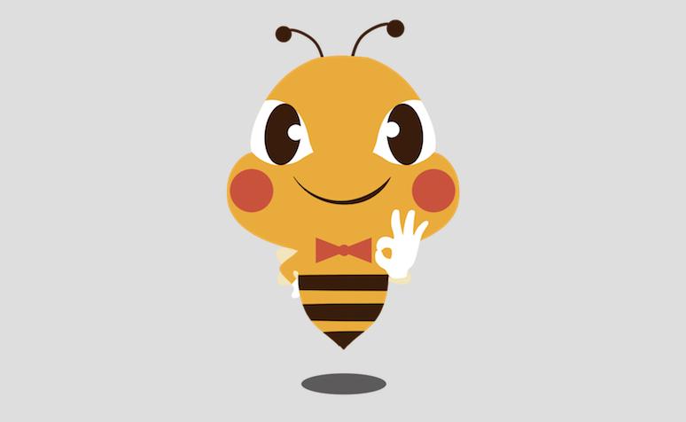 并把蜜蜂形象拟人化,佩戴白手套,领结,摆出ok手势,展现中奥放心管家的