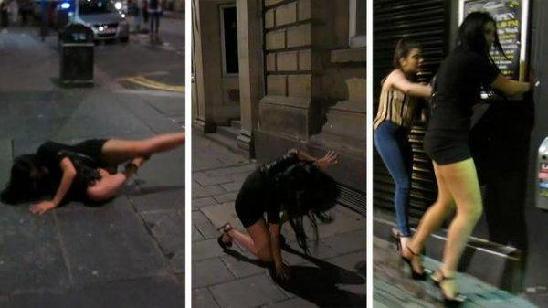 5月4日,女星Chloe Ferry在英国某夜店开派对庆祝生日,离开时候穿着高跟鞋的她不慎摔倒,四仰八叉出尽洋相。