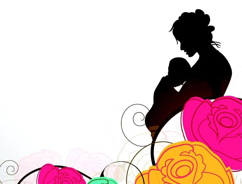 黑白手绘母亲抱着孩子漫画图