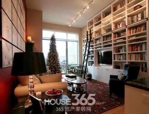 房屋客厅装修效果图:宜家风情的小户型客厅,多功能的大书柜.-让