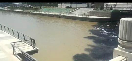 5月16日下午,河南濮阳市滨河路与石化路交叉口,一股黑色污水直接从公路桥下不断涌出。视频截图