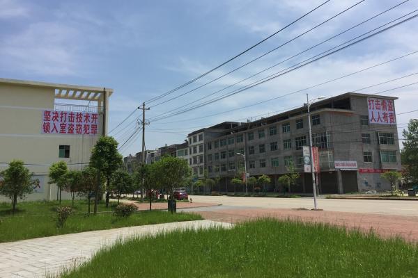 """寨下街头随处可见打击""""技术开锁入室盗窃""""的标语。澎湃新闻记者 王健 图"""